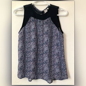 Floral Navy Blue Sleeveless Top
